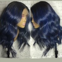 Dark Roots Blue Wig Glueless Curly Wavy 180% Density Synthet...