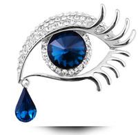 Elegantes mujeres Rhinestone Crystal Big Eye Broches para el banquete de boda Señoras Waterdrop Tears Broches prendedores para las mujeres joyería