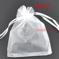200 unids Blanco Embalaje de la Joyería Bolsas de Organza Dibujable Bolsas de Regalo de boda 9 * 12 cm Bolsas de Joyería Accesorios Baratos W03194