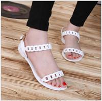 유럽과 미국의 새로운 여성 플라스틱 체인 비치 신발 캔디 컬러 젤리 체인 플랫 하단 오픈 발가락 휴가 샌들