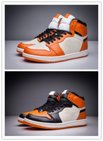 With Box 1 High OG Shattered Backboard Black orange men bask...
