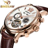 4a58536fb44 Binssaw homens turbilhão full-automatic relógio mecânico de luxo marca de  moda homem de couro