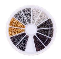 3000-Stück 6 Farben Mixed Tube Crimp Ende Perlen 2mm Armband lose Kupfer Perlen Spacer für Armband Halskette DIY Schmuck machen