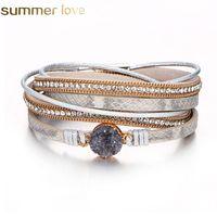 Mode Multilayer Leder Armband Frauen Vintage Stein Kristall Wrap Manschette Armband Magnetische Verschluss Handgemachte Armband Schmuck
