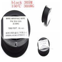 P / N B-30-1000 30AWG Negro 105 ° C Alambre de cobre estañado Alambre OK Electrónico de una sola capa Alambre bañado en plata 305M