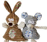 Livraison gratuite doux chiot chien jouet squeaker jouets sonores jouets en peluche lapin éléphant mixte jouets 20pcs / lot