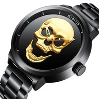 men' s Punk watch Gold Skull Skeleton Three dimensional ...