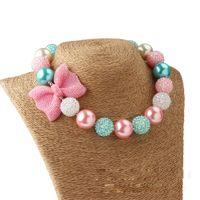 Regalos de joyería vestido nuevo arco collar de perlas de Pequeño Bebé Accesorios Niños fiesta de la princesa para el collar de Bubblegum Hasta cumpleaños