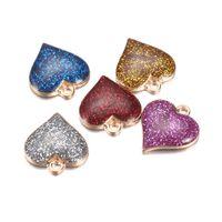 Оптовая красочные специальное сердца подвески для ювелирных изделий DIY Шику кулон позолоченный блеск Accessirues для детей Рождественский подарок