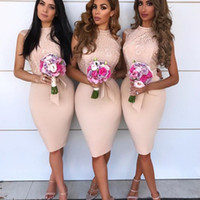 Chic High Neck Bridesmaid Dresses Sexy Lace Top Sleeveless B...