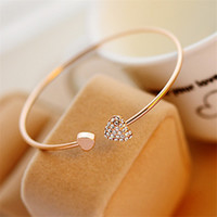 11. 11 Sales! Fashion Crystal Double Heart Adjustable Opening...