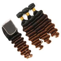 Черный Коричневый Auburn 3Tone Ombre Перуанский Девы человеческих волос Weave Связки с закрытием # 1B / 4/30 Auburn Ombre Глубокая волна 4x4 Кружева Закрытие