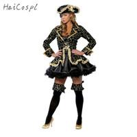 Korsan Kostüm Kadınlar Seksi Etek Cadılar Bayramı Partisi Cosplay Fantezi Sahne Performansı Siyah Altın Blinder Şapka Karnaval Kıyafet Ile
