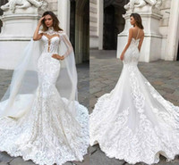 Gorgeous High Neck Mermaid Wedding Dresses With Tulle Wraps ...