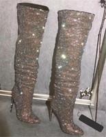 Kobiety Sexy Slim Styl Rhinestone Nad Kolano Cienki Obcasy Buty Czarowne Poruszone Palec Crystal Długi Szpilki Buty Ślubne Suknia Buty