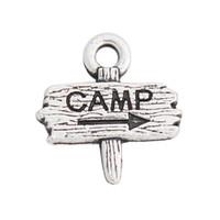 Antique Argento Colore Doppio lato Alloy Camp Road Sign Charms per campeggiatori 12 * 13mm AAC1746