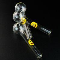 가장 저렴한 Pyrex 유리 오일 버너 파이프 투명 유리 미소 로고 그레이트 튜브 유리 파이프 오일 네일 파이프 SW15