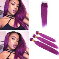 Indian Purple Virgin Human Hair Weave 3 Bundles with Lace Cl...