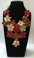 New large flower acrylic faceted beads statement necklace an...