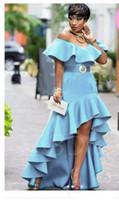 Hellblau Abendkleid High Low Aus der Schulter Plus Size Formal Holidays Wear Schwarz Mädchen Graduation Dresses Abend Party Kleid nach Maß