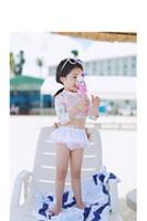 PROSEA Çocuklar Kızlar Moda Çiçek Baskı Mini Etek Mayolar Mayo Çocuk Iki parça 3/4 Kollu Yüzme Suit Mayo Beachwear