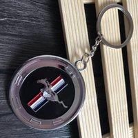 포드 머스탱 로고에 대한 10 배 자동차 스타일 3D 원형 금속 키 체인 개성 로고 펜던트 선물 자동차 머스탱 로고 엠블럼 열쇠 고리에 대 한 키 체인