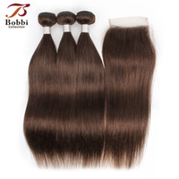 Color 4 Chocolate Dark Brown Straight Hair Bundles with Clos...