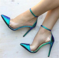 Women Blue Gradient Color PVC Pointed Toe Thin Heel Pumps Tr...