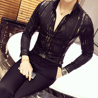 Gold Shirt Men 2017 New Long Sleeve Black White Navy Party Club Sexy Night Bar Stage Clothing Male Shirt Chemise Homme