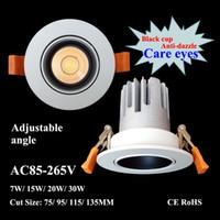 LED Downlight COB 15W 20W 30W AC85-265V recesso lâmpada do teto Cut 70/90 milímetros Spotlight Energy Saving iluminação de parede Wash com motorista CE