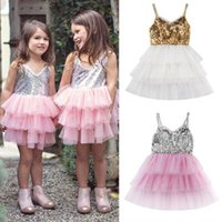 Fashion Kids Clothing Summer Girls Sequin Tulle Tutu Dresses...
