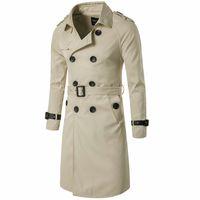 MORUANCLE Fashion Men's Long Trench Coat Double Breasted Windbreaker For Man Jacket Overcoat Pea Coat Outerwear Size M-XXXL