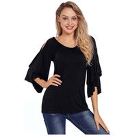 Designer Autumn Blouse Women Clothing Ruffled Off Shoulder T...