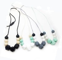 Silicone Teething Necklace Hexagon Beads Chew Necklace for M...