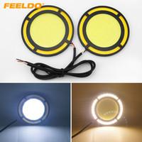 FEELDO 1pair DC12V 12W COB DRL 라운드 72mm LED 라이트 자동차 낮 빛 화이트 DRL 노란색 빛 # 1422십시오 실행