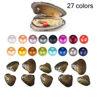 Wholesale 2018 Natural Pearl 6-7MM Round Pearl in Oysters Akoya Oyster Shell with Colouful Pearls Jewelry By Vacuum Packed Jewelry Gift