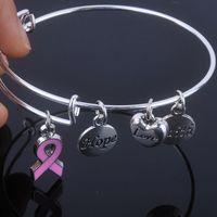 Cuidados Para O Câncer De Mama rosa pulseira de fita Esperança Fé Amor encantos pulseira pulseiras ajustáveis para Jóias