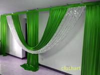 3m High * 6m Swags de ancho para el fondo de la decoración del fondo de la decoración de la cinta de la etapa de la bandera del fondo de la boda (10ft * 20ft) telón de fondo con lentejuelas drapas
