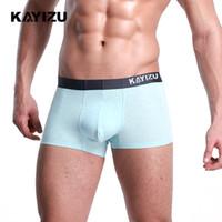 KAYIZU 2 unids / lote Hombres Ropa Interior Inconsútil Masculino Boxer Pantalones Cortos Calzoncillos de Algodón Para Hombres Bragas Cueca Boxers Sólido Bragas Masculinas