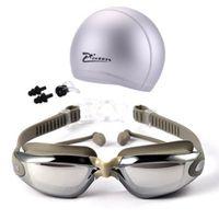 Miopia Occhialini da nuoto Cappellini Eeywear HD Occhiali da vista corti Occhiali da nuoto Occhiali diottrici Lente di placcatura Piscina d'acqua Accessori d'uso 3 pz / set
