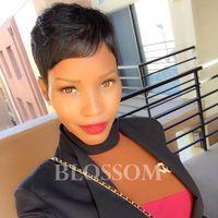 Pixie Kesim Dantel Peruk Tam Dantel Pixie Kesim Kısa İnsan Saç Peruk Siyah Kadınlar Için Brezilyalı Tam Dantel Ön Bob İnsan Saç Peruk