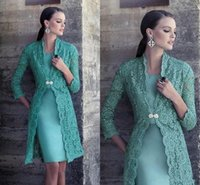 Green Lace Mother Of The Bride Dresses High Neck 3 4 Long Sl...