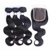 3 paquetes Onda del cuerpo del cabello virgen peruano con cierre de encaje Color natural Indio brasileño Indio Malasia Virgen Humano Weave