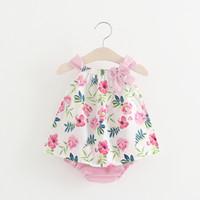 INS styles nueva llegada vestido de niña niños sin mangas 100% algodón estampado de flores vestido de tirantes vestido de niña + ropa de niña corta envío gratis