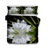 Lotus Print White 3D Bedding Sets queen Size 3d Kids bed Com...
