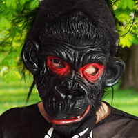 Full Face Latex Black Gorilla Mask Halloween Props Costumes ...