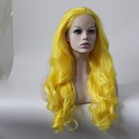Color amarillo cabello resistente al calor 150% Denstiy Cosplay Perruque Masquera pelucas delanteras del cordón sintético para la boda de las mujeres