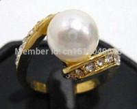 KOSTENLOSER VERSAND White Pearl Crystal Ring Größe: 6. 7. 8. 9