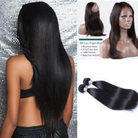 Предварительно щипковые Полные 360 лобных +2 пучки Бразильского Silky Straight Virgin Необработанных волосы могут быть отбеленной с бесплатной доставкой