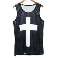 Camisola de alças dos homens 2019 Verão 3d Malha Vest Fit Fino Sem Mangas Camisetas Musculação Vestuário venda quente